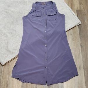 Athleta Purple Button-up Dress